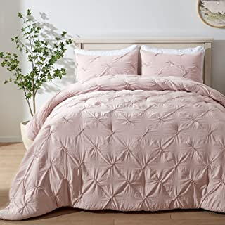 Details about  /Pink White Polka Dot Ruching Pintuck 4 pc Comforter Set Twin XL Full Queen Bed