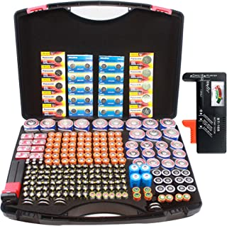 Hard Battery Organizer Storage Carry case with BT168 Battery Tester Checker, Holding 250+ AA, AAA, AAAA, C, D, 9V, Button ...