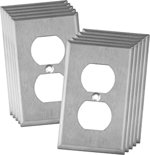 "ENERLITES Duplex Receptacle Outlet Metal Wall Plate, Corrosive Resistant, Size 1-Gang 4.50"" x 2.76"", 7721-10PCS, 430 Stainless Steel, UL Listed, Silver (10 Pack), 10 Piece"