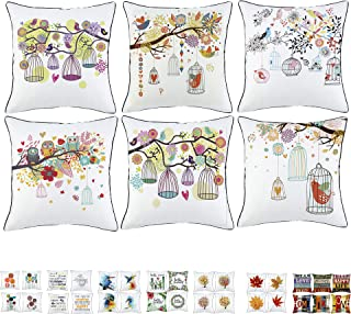 Sivaha Idyllic Life Bird Throw Pillow Case,Abstract Painting Cushion Cushion,Decorative Square Cuhshion Covers,Creativity Pillowcase with Piping 18