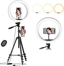 "$30 » 12.6"" Selfie Ring Light with 54"" Tripod Stand & Flexible Phone Holder for Live Stream/Makeup/Photography,Upgraded Dimmable..."