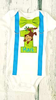 Baby Boy first birthday Blue Monkey and Tree 1st birthday baby boy Monkey cake smash one year Zoo outfit birthday Monkey outfit birthday
