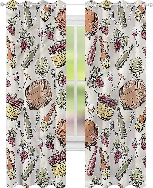 Window Curtain Drape Winery Viticulture Barrel Grapevine shop Max 54% OFF x L W52