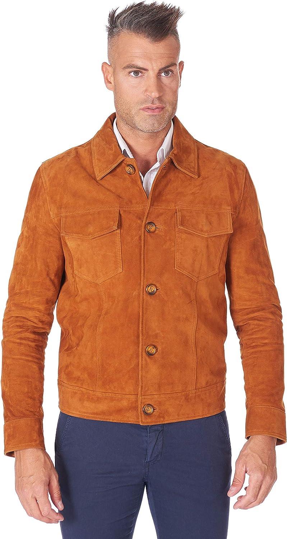 Tan suede lamb leather biker jacket central zip