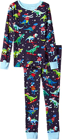 Hatley Kids - Winter Sports T-Rex Long Sleeve Pajama Set (Toddler/Little Kids/Big Kids)