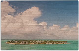 Lantern Press Key West, Florida - Aerial View of Key West - Photography A-93355 (12x18 Wood Wall Sign, Wall Decor Ready to Hang)
