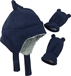Little Boys and Baby Sherpa Lined Fleece Hat Mitten Set with Ears