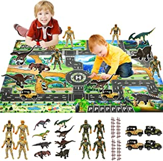 Dinosaur Toys for Kids with 50x39 Inch Extra Large Playmat&Pull Back Toy Vehicle Cars, Action Toy Figures, Dinosaurs Creat...