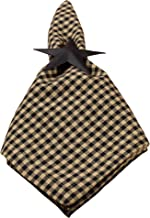 Colonial Black and Tan Check Plaid 18 x 18 Inch All Cotton Napkin Set of 4