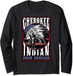 Cherokee Tribe Native Proud American Indian US Flag Design Long Sleeve T-Shirt