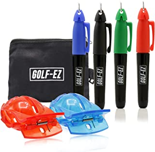 Golf-EZ Golf Ball Marker Line Drawing Alignment Putting Tool Kit with Marker Set and Carry Case