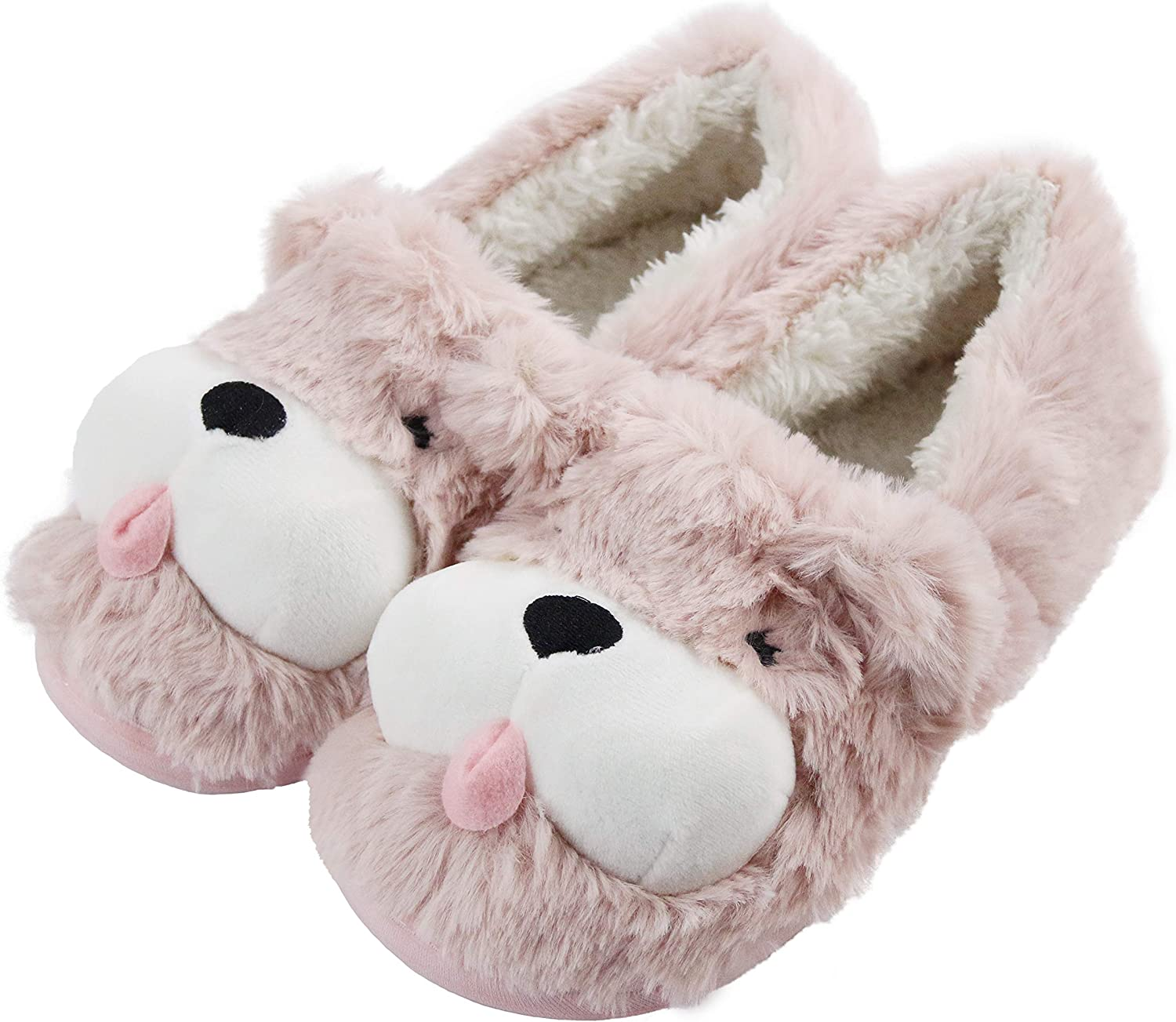 Excellence Sanfiago Fuzzy Puppy Dog Women Direct stock discount Slippers Non-Slip Fluf Heels with