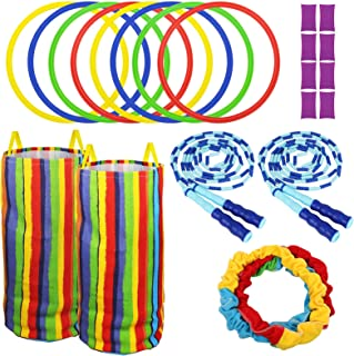 Player Outdoor Games For Kids and Adults - Potato Sack Race Bags-Hopscotch Ring Game - Cooperative Stretchy Band outdoor L...