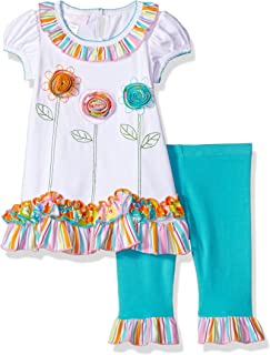 Bonnie Jean Baby-Girls Appliqued Dress and Legging Set Patterned Short Sleeve Playwear Dress