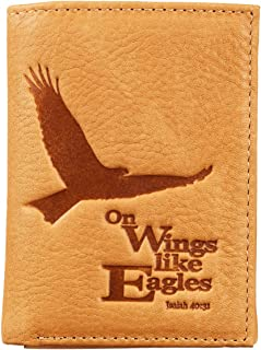 Christian Art Gifts Genuine Leather Wallet for Men | Wings Like Eagles – Isaiah 40:31 Bible Verse | Quality Classic Tan Le...