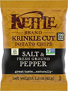 Kettle Brand Potato Chips, Krinkle Cut Salt and Fresh Ground Pepper, Single-Serve 1.5 Ounce (Pack of 24)