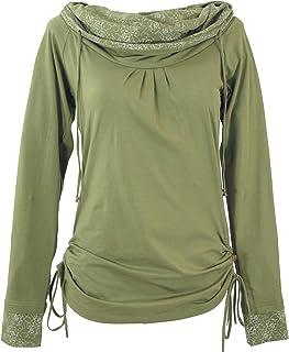 Guru-Shop, Camiseta larga Bio, Boho Shirt con capucha de chal, algodón, jerséis, sudaderas de manga larga
