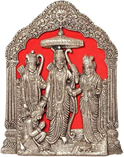 SHINE MILL Antique White Metal Lord Shri Ram Darbar Idol (25.4 cm X 15.24 cm) Best for Gifting, Workship and Home Decor Home décor Indian Handicraft Handmade Festive décor