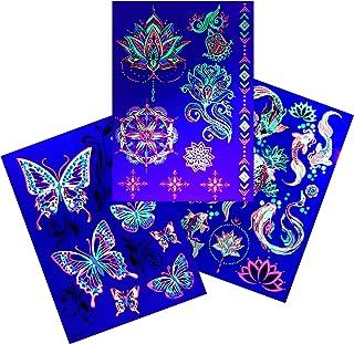 d'IRIS studio Neon Night Glow in the Dark Party Butterfly Skulls Aliens Tattoos-Kids Birthday Supplies Gift Favors Accesso...