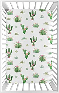 Sweet Jojo Designs Pink and Green Boho Watercolor Baby Girl Fitted Mini Portable Crib Sheet for Cactus Floral Collection - for Mini Crib or Pack and Play ONLY