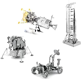 Fascinations Metal Earth 3D Metal Model Kits Apollo Space Set of 4 - Apollo CSM with LM - Apollo Lunar Module - Apollo Lunar Rover - Apollo Saturn V with Gantry