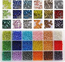 10800pcs in Box 18 Multicolor Assortment 8/0 Beading Glass Seed Beads Transparent Silver Lined Loose Spacer Crystal Seed Beads,3mm Round, Hole 1mm (600pcs/Color, 18 Colors)