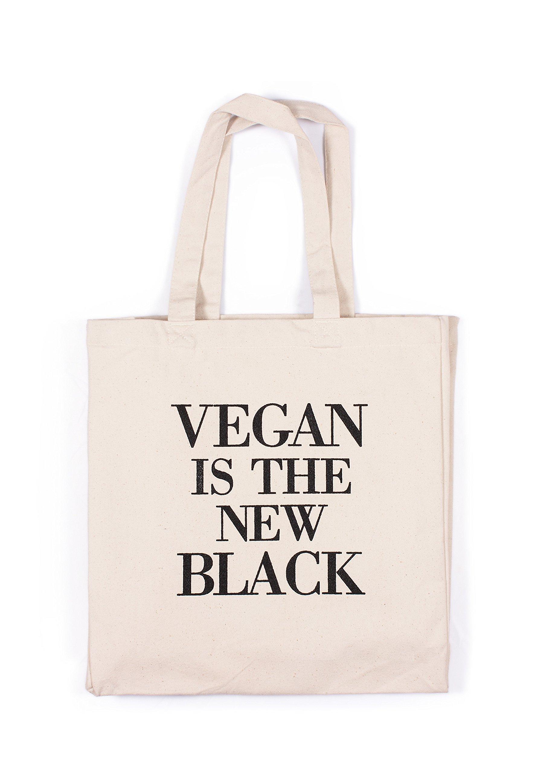 Vegan Tote Bag – es el nuevo negro vegetarianos lema activista Veggie herbívoro algodón canvas tote bolso de la compra impreso mercado respetuoso con el medio ambiente, lona, crema, talla única: Amazon.es: