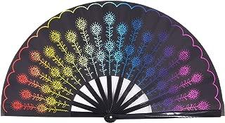 Amajiji Large Peacock Folding Fan, Chinease/Japanese Folding Nylon-Cloth Hand Fan, Hand Folding Fans for Women/Men, Hand Fan Festival Gift Fan Craft Fan Folding Fan Dance Fan (Multi Color)