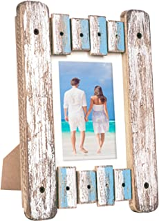 Excello Global Products Rustic Distressed Wood Frame: Holds a 5x7 Photo: Ready to Hang, Shabby Chic, Driftwood, Barnwood, Farmhouse, Reclaimed Wood Picture Frame (Blue & White)