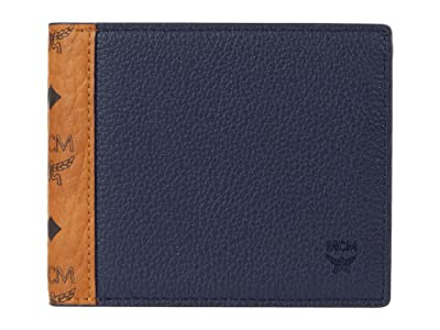 MCM Visetos Leather Mix Flap Wallet/Two-Fold Small (Cognac) Bags