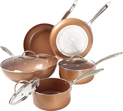 8 Pc Cookware Set with 2 Layer Nonstick Ceramic Coating, Tempered Glass Lid, Copper Color Finish Dishwasher Oven Safe Allumi-Shield by Classic Cuisine