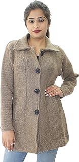 HAUTEMODA Women's Wool Lapel Collared Cardigan