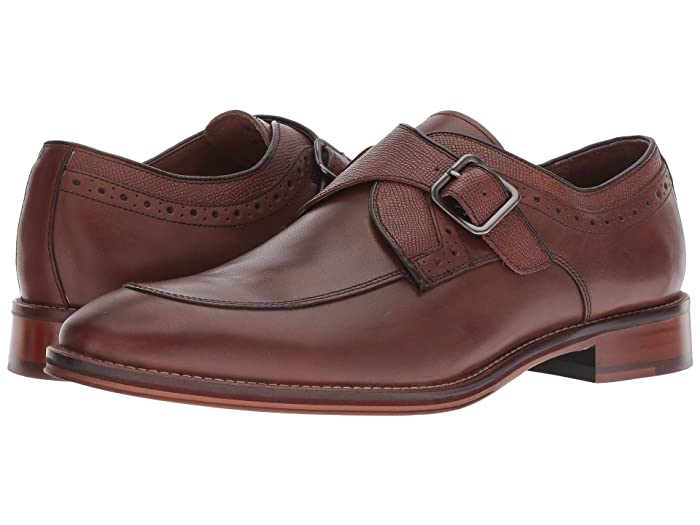 Johnston and Murphy  Conard Monk Strap (Oak Italian Calfskin) Mens Monkstrap Shoes
