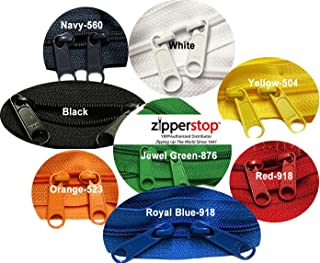 Zipperstop wholesale - Double Slide Zipper YKK #4.5 Coil with Two Long Pull Head to Head closed ended on both sides Made in USA (30 Inch, Mixed 8 Colors)