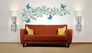 Flor decorativa Rama de vinilo, etiqueta de arte para la pared, mural, calcomanía con mariposas 3D cortadas a mano en gris, naranja o azul. 120 cm de ancho x 40.4 cm de alto dimensiones