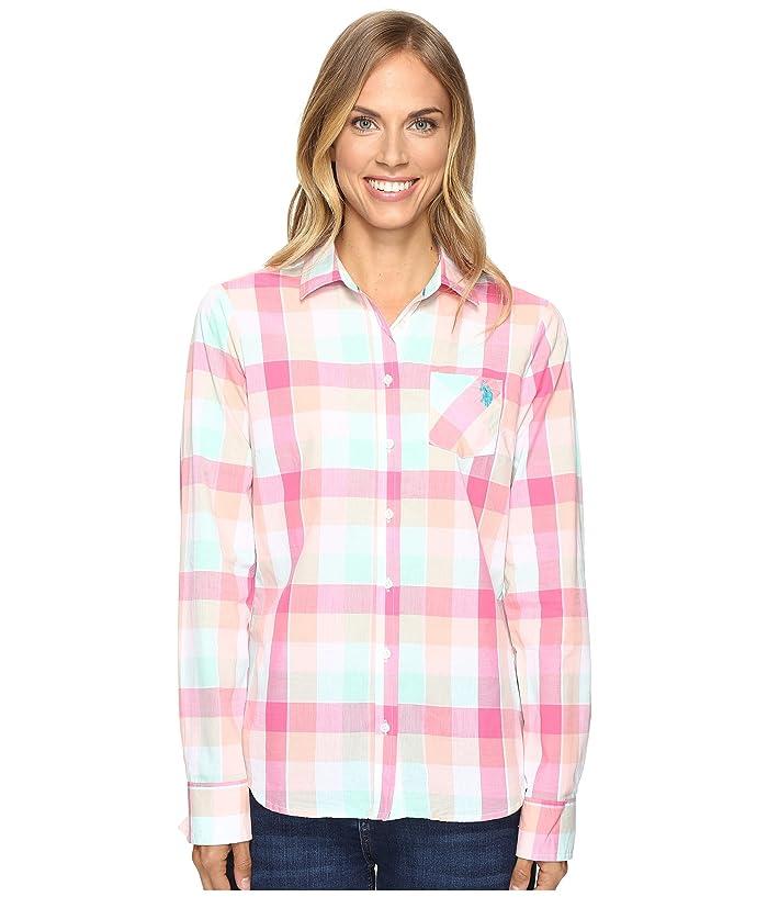 U.S. POLO ASSN. Classic Button Front Poplin Plaid Woven Shirt