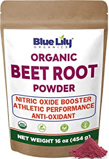 Blue Lily Organic Beet Root Powder (1 lb) | Raw & Non-GMO | Super Beets Powder | Natural Nitric Oxide Booster | Boost Stam...