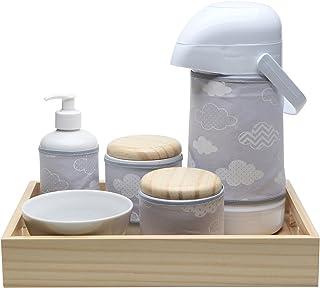 Kit Higiene Moderno Nuvem, Potinho de Mel, Cinza