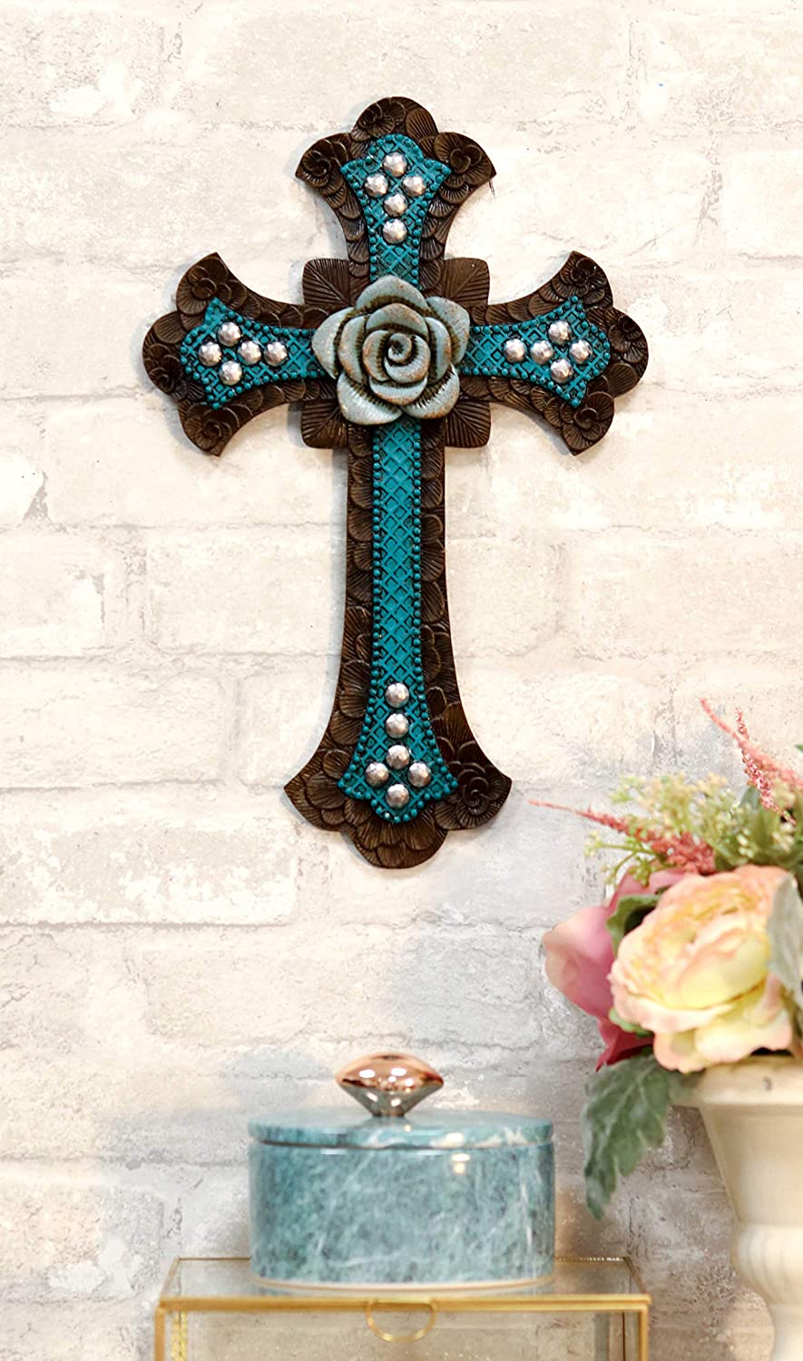 Ebros Rustic Southwestern Turquoise And Brown Tuscan Rose Of Sharon Floral Bloom Design Wall Cross Decor Plaque 13.5