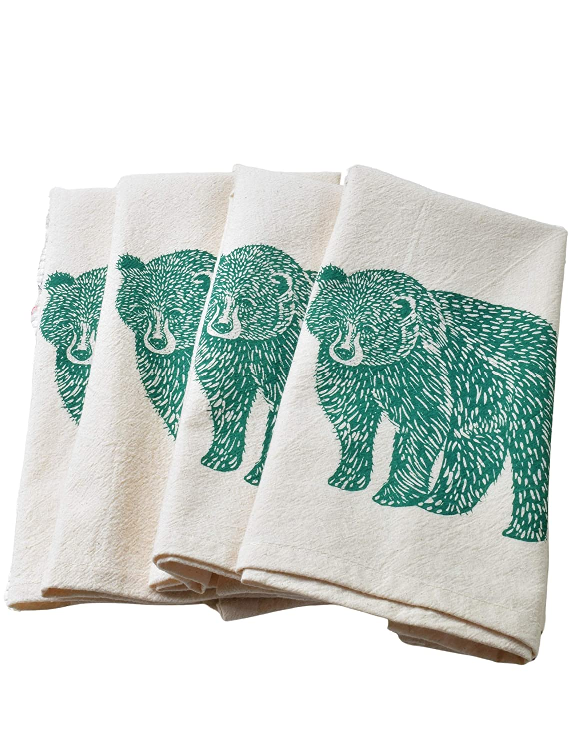 Set Super sale of 4 Organic Cotton in Bear Max 75% OFF Napkins Green