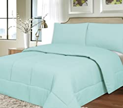 Sweet Home Collection Down Alternative Polyester Comforter Box Stitch Microfiber Bedding - King, Light Blue
