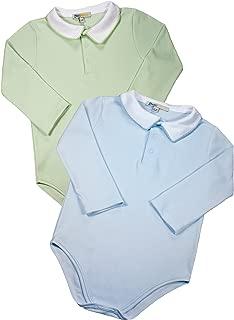 Baby Boys' 100% Pima Cotton Bodysuits - Blue Green Long Sleeve 2 pc Set