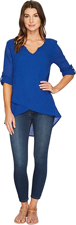 Mod-o-doc - Gauze Notch V-Neck Roll-Up Sleeve Top