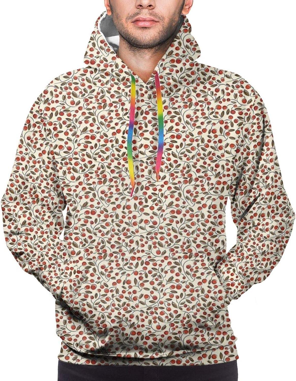 TENJONE Men's Hoodies Sweatshirts,Abstract Arrangement of Plants with Berries and Leaves Doodle Pattern,Small
