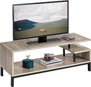 Yaheetech Meuble TV Bas Table TV Support de Télévision en Bois pour Salon Chambre Salle à Manger à 3 Niveaux Style Industr...