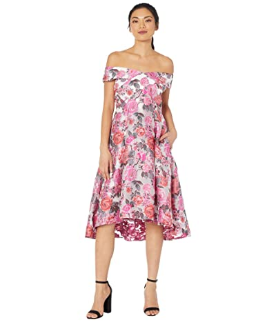 Adrianna Papell High-Low Off-the-Shoulder Jacquard Midi Dress (Pink Multi) Women