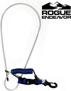 "Rogue Endeavor Fish Stringer Clip, Large, Stainless Steel Construction, Quick Release 36"" Steel Core Lanyard, Designed for Spearfishing, Kayak Fishing & Scuba Diving and All Fish Types"