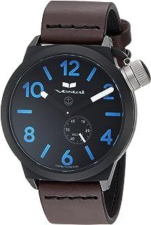 ساعة فيستل كوارتز من الستانلس ستيل مع حزام جلد عجل، بني، 22 - CNT453L08.DBBK