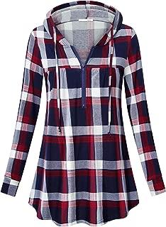 Messic Women's Zip V Neck Casual Lightweight Tunics Long Sleeve Plaid Shirts Tops