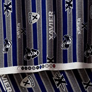 Sykel Enterprises NCAA Xavier Polo Stripe Fabric, Blue/Grey, Fabric By The Yard
